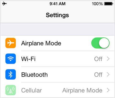airplane mode on and off to fix cellular data not available