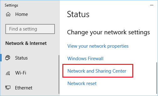 change network and sharing setting to get rid of err name error i