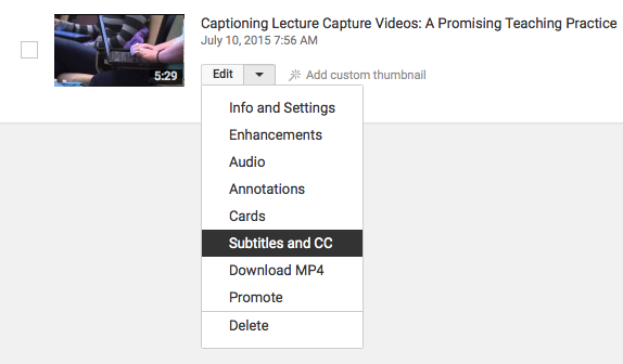 how to add caption to youtube videos step 2