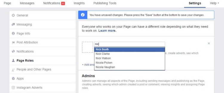 how to make someone an admin on Facebook page who is not your friend (2)